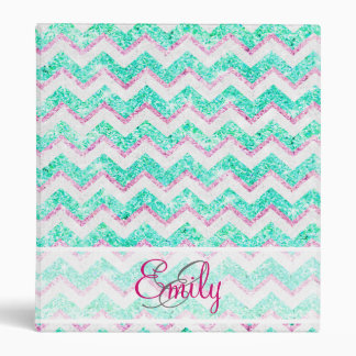 Monogram Chevron Girly Teal Pink Glitter 3 Ring Binder