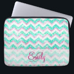 "Monogram Chevron Girly Teal Pink Glitter Laptop Sleeve<br><div class=""desc"">Monogram Chevron Girly Teal Pink Glitter. Stylish,  trendy and modern monogrammed girly design featuring a teal blue,  turquoise and baby girly pink zigzag chevron pattern glitter background photo . Perfect gift for her,  for her birthday or any occasion. Hipster glitter photo print,  original and modern design.</div>"