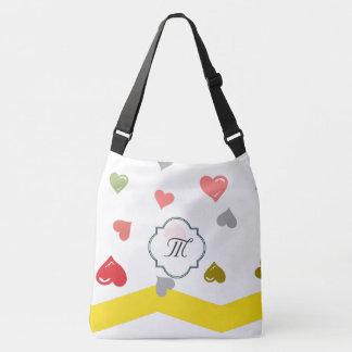Monogram chevron heart bag