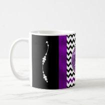 Monogram Chevron Pattern Black & Purple Foil Coffee Mug