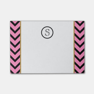 Monogram chevron personalized pink black gold post-it® notes