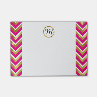 Monogram chevron personalized pink gold white post-it notes