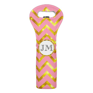 Monogram chevron pink gold look wine bag