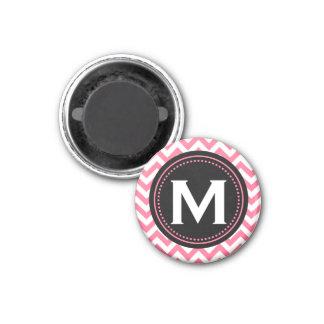 Monogram Chevron   Pink White Black Color Palette Fridge Magnets
