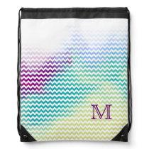 monogram chevron stripes initial drawstring backpack