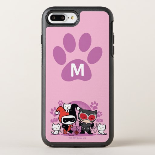 Monogram Chibi Harley Quinn & Catwoman With Cats OtterBox Symmetry iPhone 8 Plus/7 Plus Case