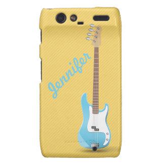 Monogram Chic Blue Electric Guitar Yellow Stripes Droid RAZR Covers