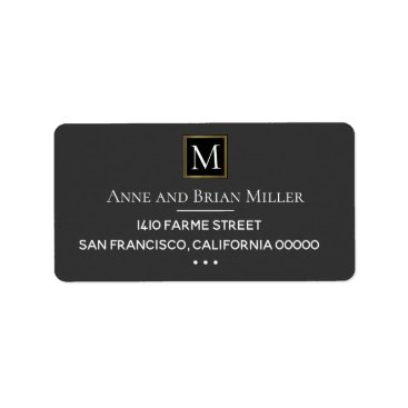 Bride Themed monogram chic bride & groom wedding dark gray label