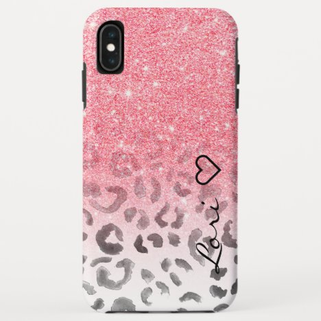 Monogram chic faux pink glitter leopard watercolor iPhone XS max case
