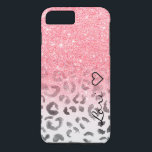 """Monogram chic faux pink glitter leopard watercolor iPhone 8 plus/7 plus case<br><div class=""""desc"""">Modern and stylish personalized monogram,  beautiful,  pretty faux pink glitter shower and ombre pattern fading onto a modern hand painted black and white watercolor leopard print pattern. Get this awesome girly trendy pink leopard pattern for her,  the fashionista who loves animal print pattern and glam</div>"""