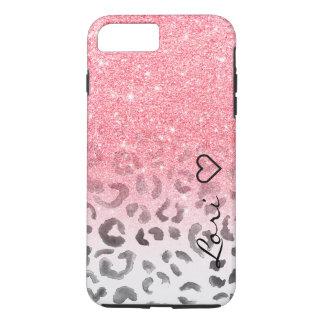 Monogram chic faux pink glitter leopard watercolor iPhone 8 plus/7 plus case