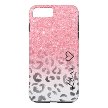 girly_trend Monogram chic faux pink glitter leopard watercolor iPhone 8 plus/7 plus case