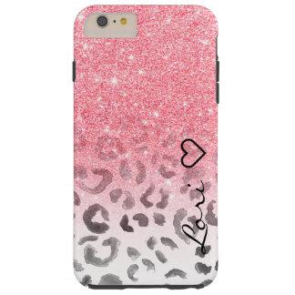 Monogram chic faux pink glitter leopard watercolor tough iPhone 6 plus case