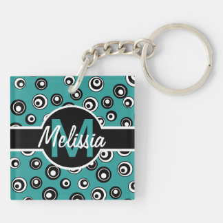 Monogram Chic Peacock White Black Circle Pattern Double-Sided Square Acrylic Keychain