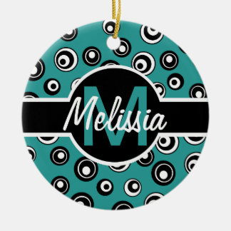 Monogram Chic Peacock White Black Circle Pattern Double-Sided Ceramic Round Christmas Ornament