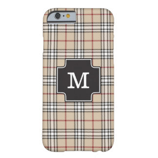 Monogram Chic Tartan Plaid Tan Red Black White Barely There iPhone 6 Case