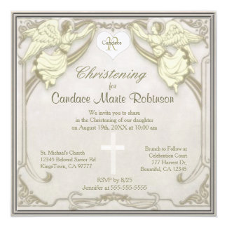 Monogram Christening with Angels Card