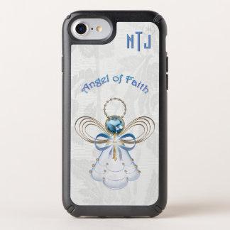 Monogram Christmas Angel of Faith Gold Filigree Speck iPhone Case