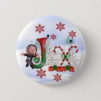 Monogram Christmas Button J