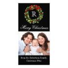 Monogram Christmas Elegant Wreath Customized Photo Card