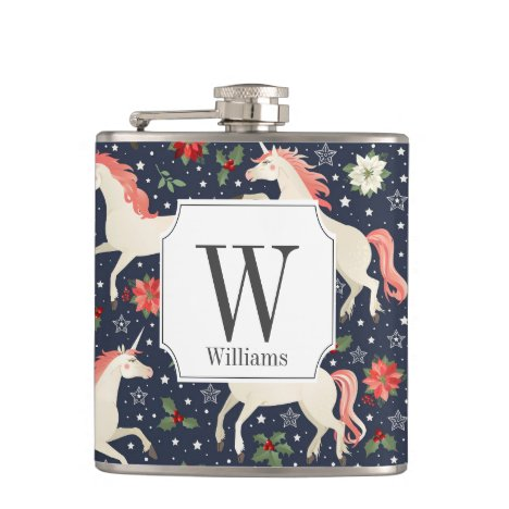 Monogram Christmas Festive Unicorns Flask