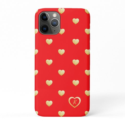 Monogram Christmas Gold Hearts on Red iPhone 11 Pro Case