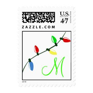 Monogram Christmas Lights Postage Stamp