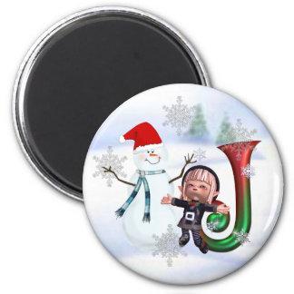 Monogram Christmas Magnet J