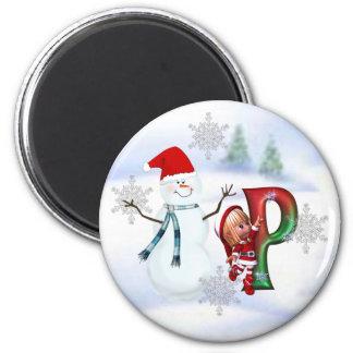 Monogram Christmas Magnet P