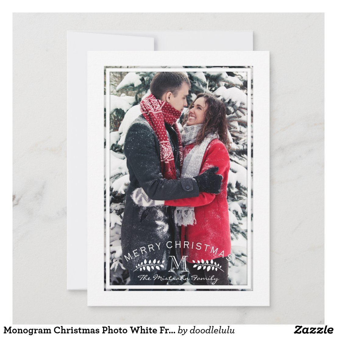 Monogram Christmas Photo White Frame Holiday Card