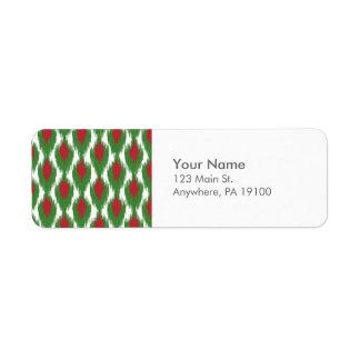 Monogram Christmas Red Green Ikat Diamond Pattern Return Address Label