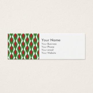 Monogram Christmas Red Green Ikat Diamond Pattern Mini Business Card