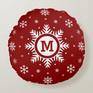Monogram Christmas Snowflake pillow - red & white Round Pillow