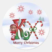 Monogram Christmas Sticker K