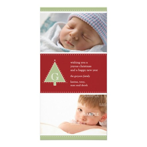 Monogram Christmas Tree Photo Card