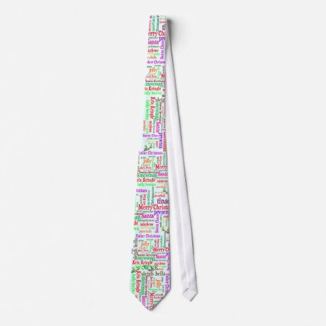 Monogram Christmas word collage Tie