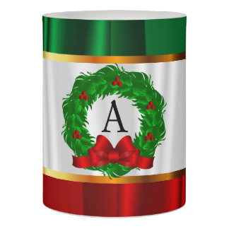 Monogram Christmas Wreath Flameless Candle