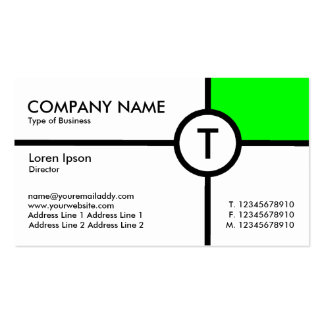 Monogram Circle Cross (Green) - White Double-Sided Standard Business Cards (Pack Of 100)