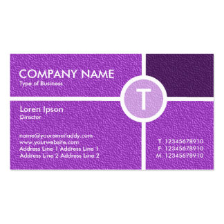 Monogram Circle Cross - Purple Embossed Texture Double-Sided Standard Business Cards (Pack Of 100)