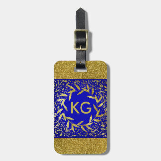 Monogram Circle of Leaves Wreath Gold Glitter Bag Tag