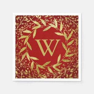 Monogram Circle of Leaves Wreath Gold Glitter Napkin