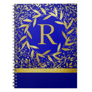Monogram Circle of Leaves Wreath Gold Glitter Notebook