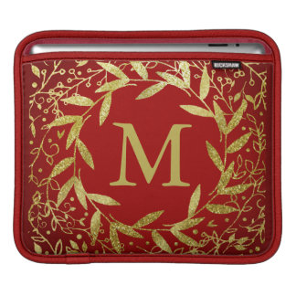 Monogram Circle of Leaves Wreath Gold Glitter Sleeve For iPads