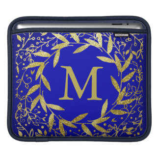 Monogram Circle of Leaves Wreath Gold Glitter Sleeves For iPads