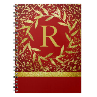 Monogram Circle of Leaves Wreath Gold Glitter Spiral Notebook