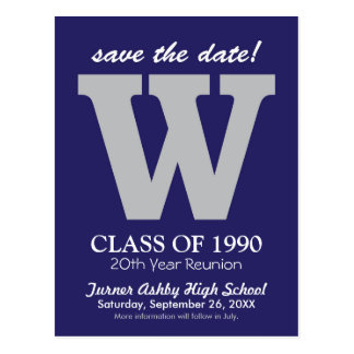 Monogram Class Reunion Save-the-Date Postcard