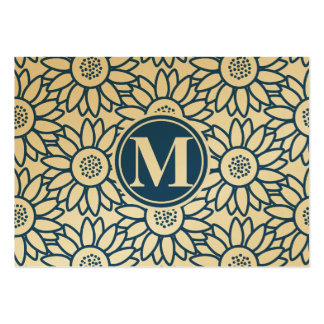 Monogram Classic Blue Sunflower Large Business Cards (Pack Of 100)