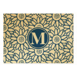 Monogram Classic Blue Sunflower Large Business Card