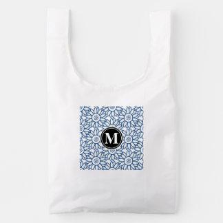 Monogram Classic Blue Sunflower Pattern Reusable Bag