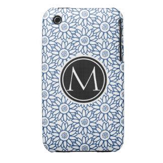 Monogram Classic Blue Sunflower Pattern iPhone 3 Case